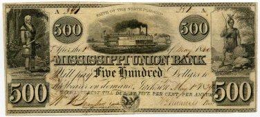 Mississippi, Jackson, Mississippi Union Bank, $500, May 1, 1840