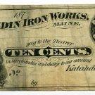Maine, Katahdin Iron Works, Katahdin Iron Co, 10 Cents, 187- (1870s)
