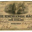 Virginia, Norfolk, The Exchange Bank of Virginia, $5, August 13, 1856