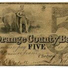 Vermont, Chelsea, The Orange County Bank, $5, July 4, 1850