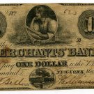 New York, New York, Merchants' Bank, $1, May 1, 1859