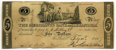 Virginia, Alexandria, The Merchants Bank of Alexandria, $5, July 13, 1815