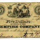 New York, New York City, Empire Company, $5, October 10, 1849