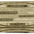 Vermont, Windsor, Bank of Windsor, $1, 18--, (1830s)