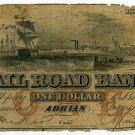 Michigan, Adrian, Erie and Kalamazoo Railroad Bank, $1, August 1, 1853