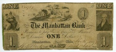 Ohio, Manhattan, The Manhattan Bank, $1, November 15, 1834