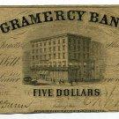 Indiana, LaFayette, Gramercy Bank, $5, November 25, 1852
