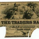 Indiana, Terre Haute, Traders Bank, $5, December 1st, 1852