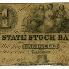 Indiana, Logansport, State Stock Bank, $1, Oct 20, 1852