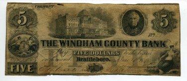 Vermont, Brattleboro, The Windham County Bank, $5, June 1, 1859