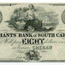 South Carolina, Cheraw, Merchants Bank of S.C., $8 , 18-- , Reprint