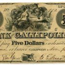 Arkansas, Austin, Geo. P. Murrell Stamp on back of Gallipolis, Ohio $5, 1839