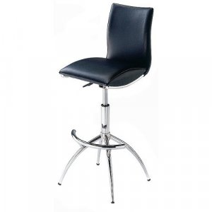 Black Leather Swivel Bar Stool
