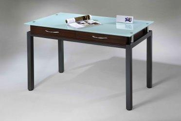 Sleek Contemporary Dark Walnut Glass Top Desk