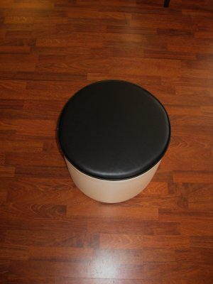 Contemporary Modern Black and White Ottoman