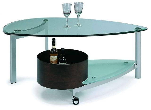 Modern Contemporary Glass Coffee Table with Storage