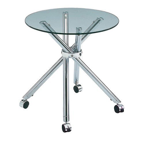 Modern Contemporary Glass and Chrome End Table