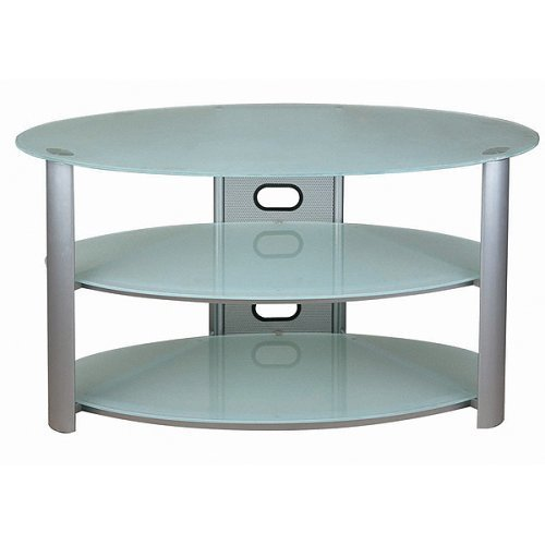 Modern Oval V-Hold TV Stand - Silvertone/Frosted Glass