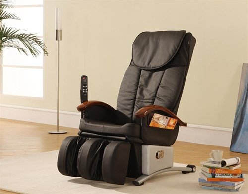 Contemporary Massage Chair - Black Leather