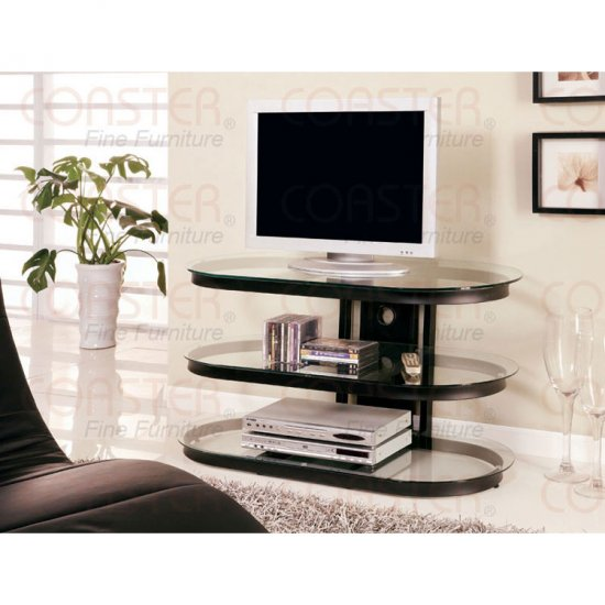 Modern Contemporary Black TV Stand with Glass Shelves
