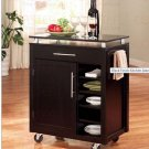 Contemporary Black Finish Kitchen Island - Mobile Bar