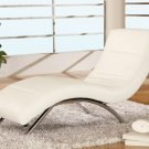 Modern Contemporary White Leather Chaise Lounge - Chair