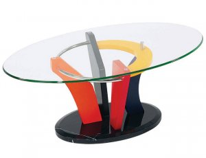 Modern Multi Color Base Glass Top Coffee Table