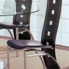 Modern Contemporary Leather Black Silver Chairs Set