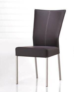 Modern Contemporary Stitched Leather Dining Chair Set