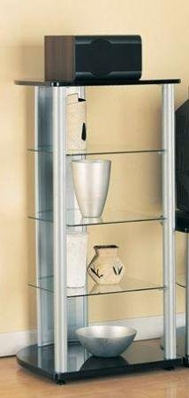Modern Contemporary Media Audio Tower Metal Glass Rack