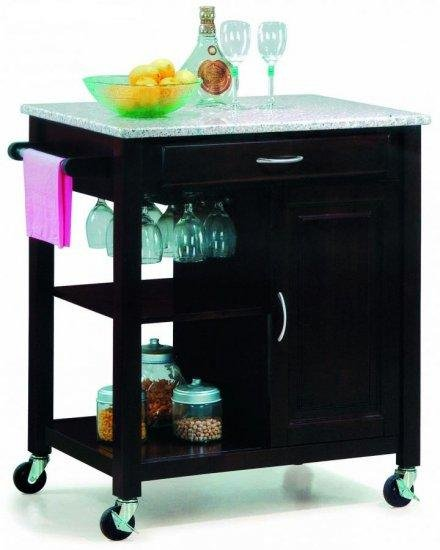 Modern Contemporary Mobile Kitchen Island Cart Granite
