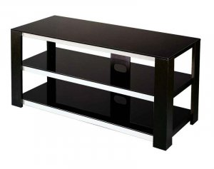 Modern Mod TV Stand Unit w Black Glass Display Shelf