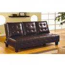 Dark Brown Leather Leatherette Sleeper Sofa Bed Futon