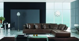 3878 Leather Sectional Sofa Set Modern Contemporary