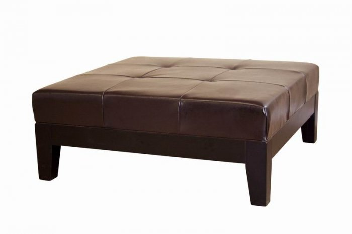 Large Ottoman Leather Coffee Table Footstool Foot Stool