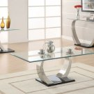 Modern Contemporary Glass Top Black Base Coffee Table