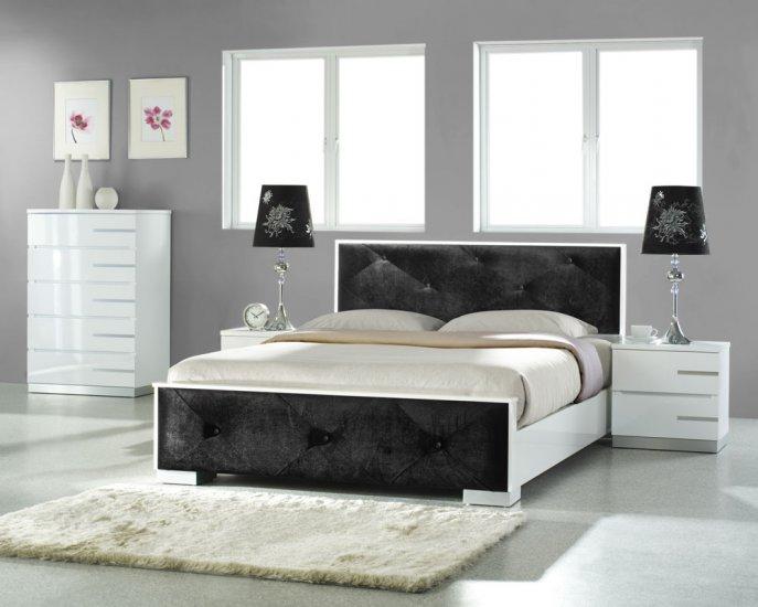 Modern White & Black Leather Headboard Bed Bedroom Set