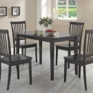 Contemporary Dark Wood Dining Table and Chairs Set 5PC