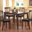 Dark Wood Dining Table and Upholstered Chairs Set 5 PC
