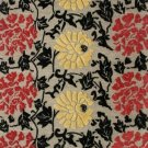Stunning Modern Floral Wool Accent Rug Black Taupe Red