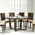 Contemporary Modern Round Wood Glass Dining Table