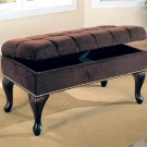 Rich Brown Tufted Storage Ottoman Furniture Classic