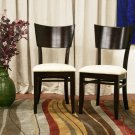 Modern Dark Brown Wood & Beige Dining Chairs Set