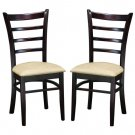 Brown Wood Upholstered Contemporary Dining Chairs Set