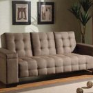 Tan Microfiber Tufted Couch Sofa Bed Sleeper Modern