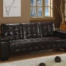 Brown Leather Tufted Couch Sofa Bed Sleeper Modern