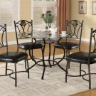 5 Piece Clear Glass Top Black Finish Metal Dining Set