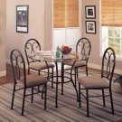 5 Piece Clear Glass Top Metal Dining Table Chairs Set
