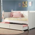 Modern White Wood Day Bed with Storage Trundle Kids