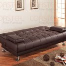 Brown Leather Futon Couch Sofa Bed Sleeper Modern